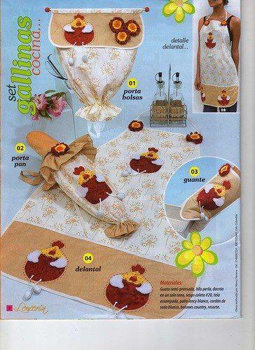 Set de cocina lenceria de cocina kit de cocina - Patrones para pintar en tela ...
