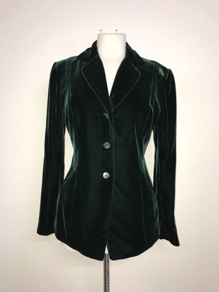 Austin Reed Ladies Deep Green Velvet Jacket Size 14 Gorgeous Velvet Jacket Green Velvet Jacket Green Velvet