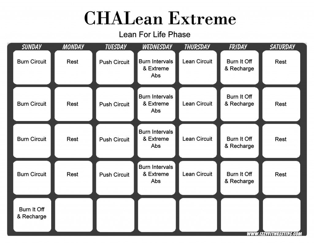 Chalean Extreme Workout Calendar With Images