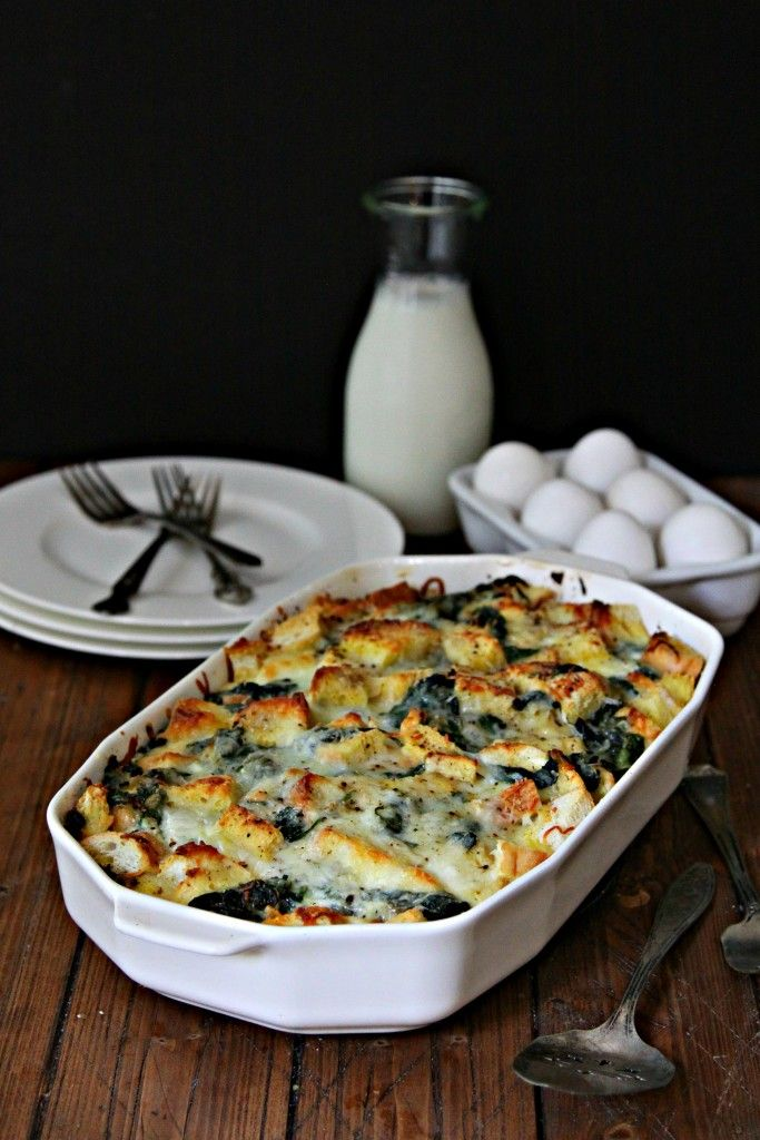 cheesy spinach strata - Cheese Strata Recipes Brunch