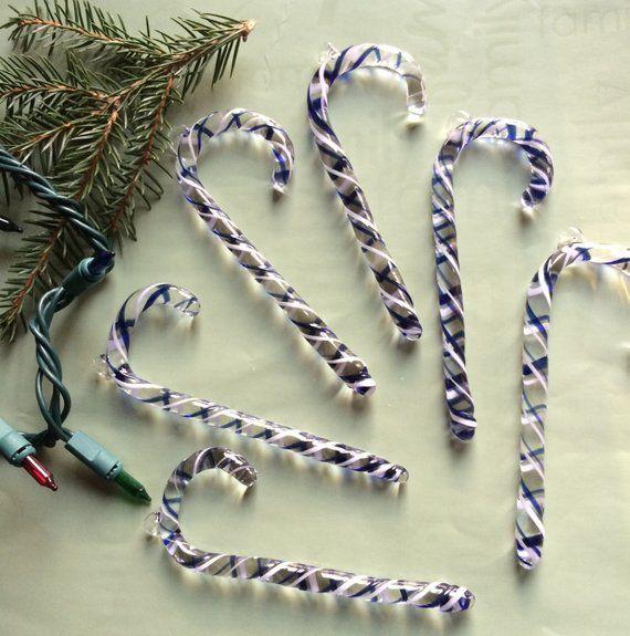 Blue  White CANDY CANE Handmade Borosilicate Glass Christmas