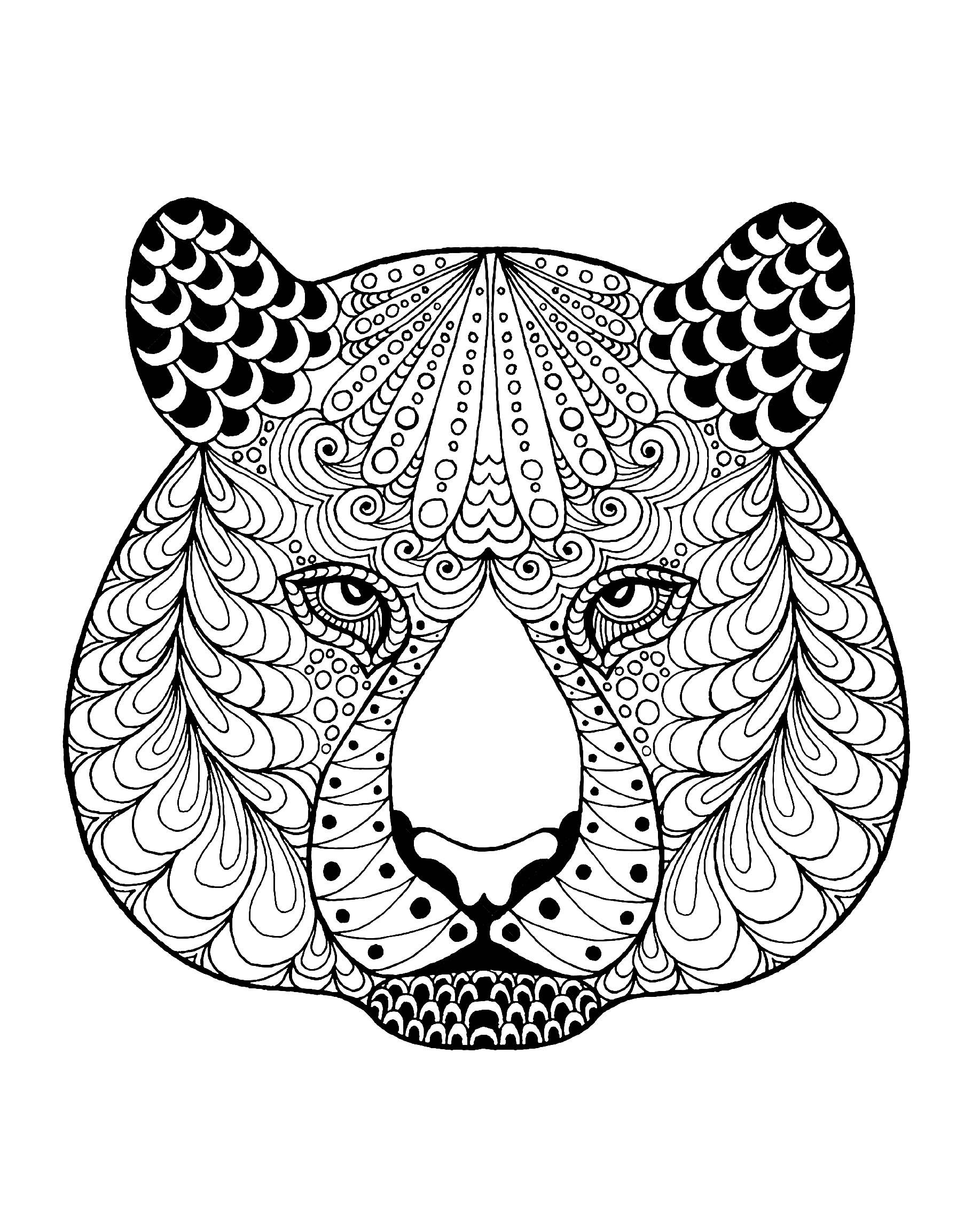 Tiger Head With Patterns Tigers Coloring Pages For Adults Just