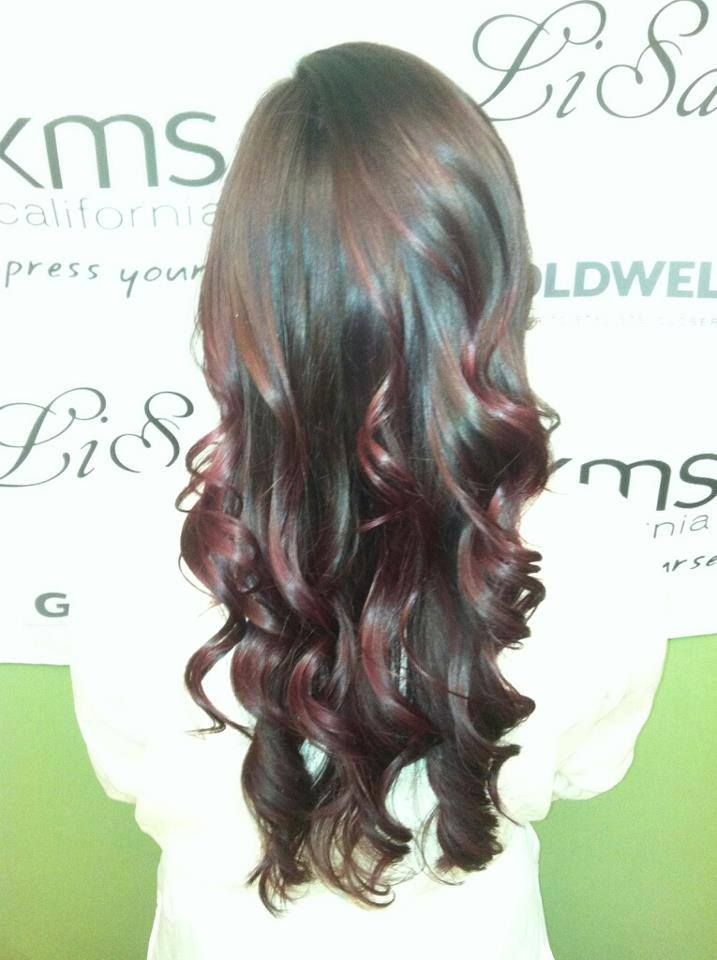 beautiful #brownred #ombre with cascading #curls #goldwell #lisalon