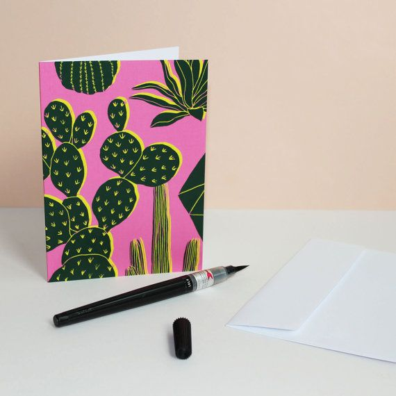 Pink Cactus Card by HelloMarine on Etsy