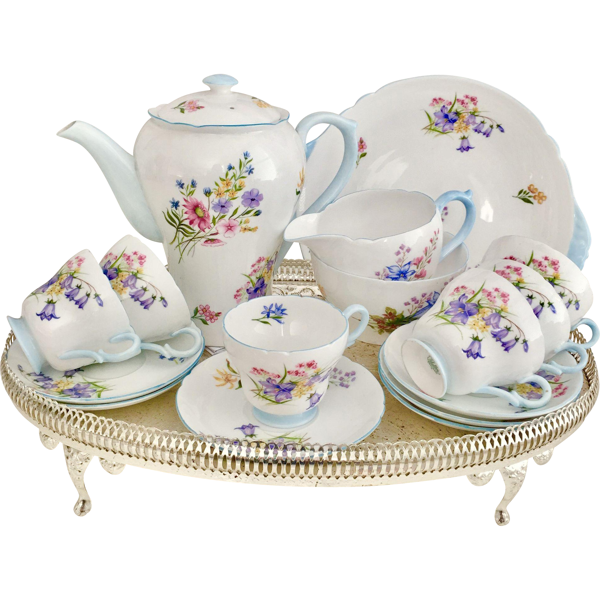 Shelley Full Tea Or Coffee Set For 6 In Mint Condition Vintage 1950s Mini Tea Set Antique Tea Sets Coffee Set