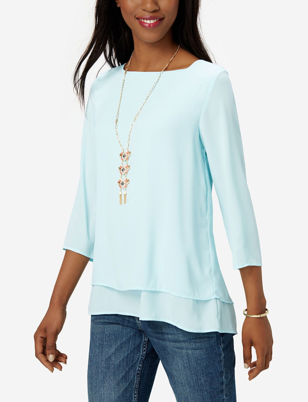 Drapey Layered Blouse   Hi-Low Tunic   THE LIMITED