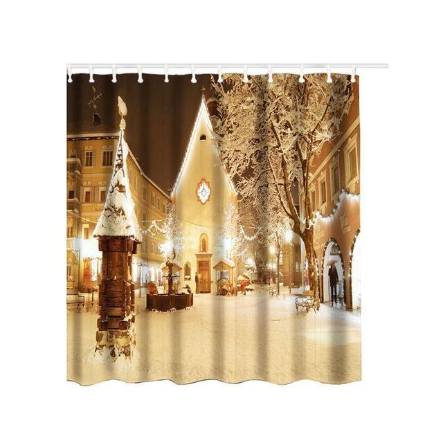 Christmas Waterproof Polyester Cloth Shower Curtain Bathroom