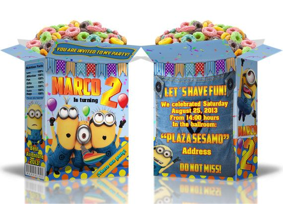 Small box of cereal Invitation for birthday party inspired by Minions on Etsy, $5.00
