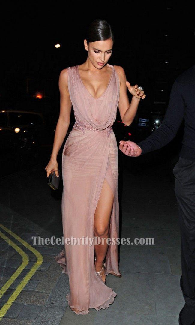 Irina Shayk Pink Sleeveless Beaded Evening Gown Prom Dress TCD6493 ...