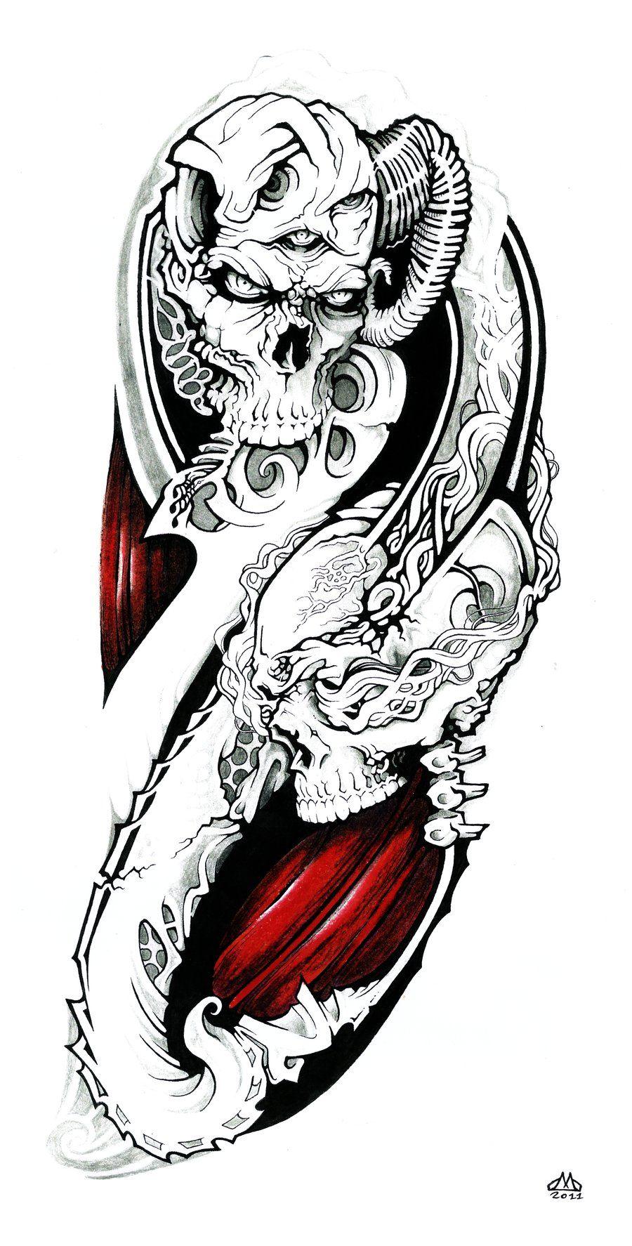 Skulls Quarter Sleeve by wilson419 on deviantART Quarter