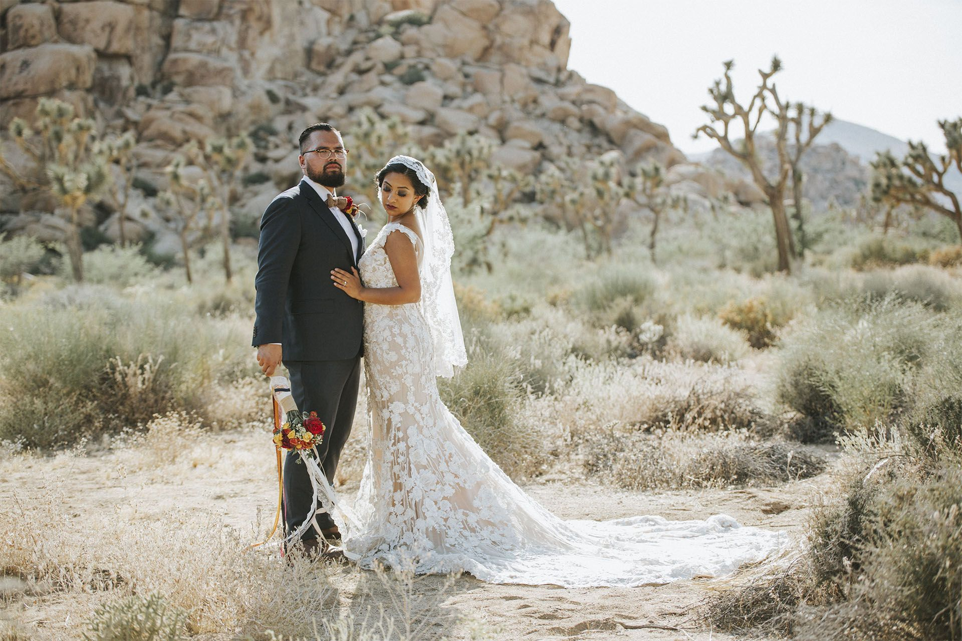 Bridal session in joshua tree yucca valley engagement session