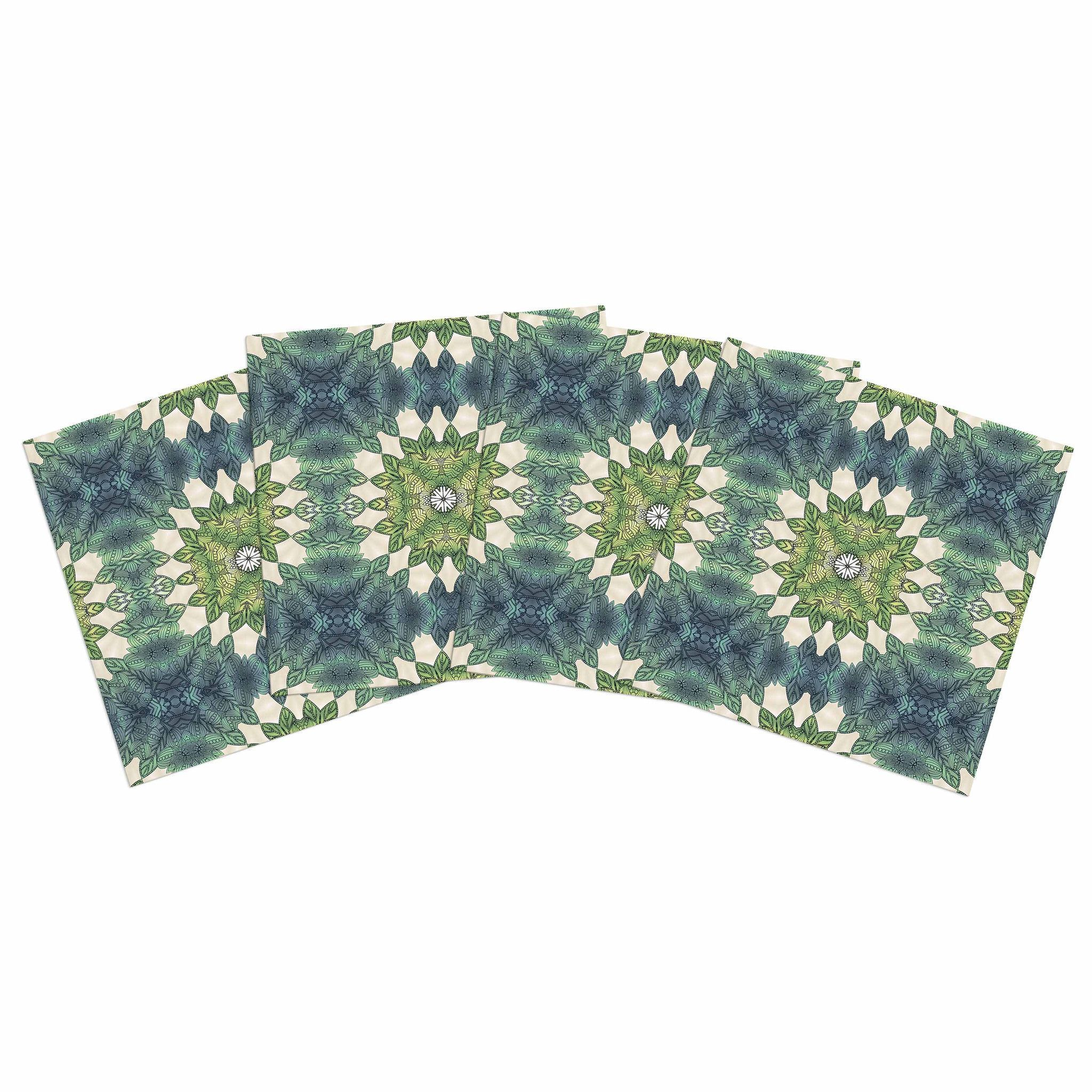 """Art Love Passion """"Forest Leaves Repeat"""" Green Teal Geometric Indoor/Outdoor Place Mat (Set of 4)"""