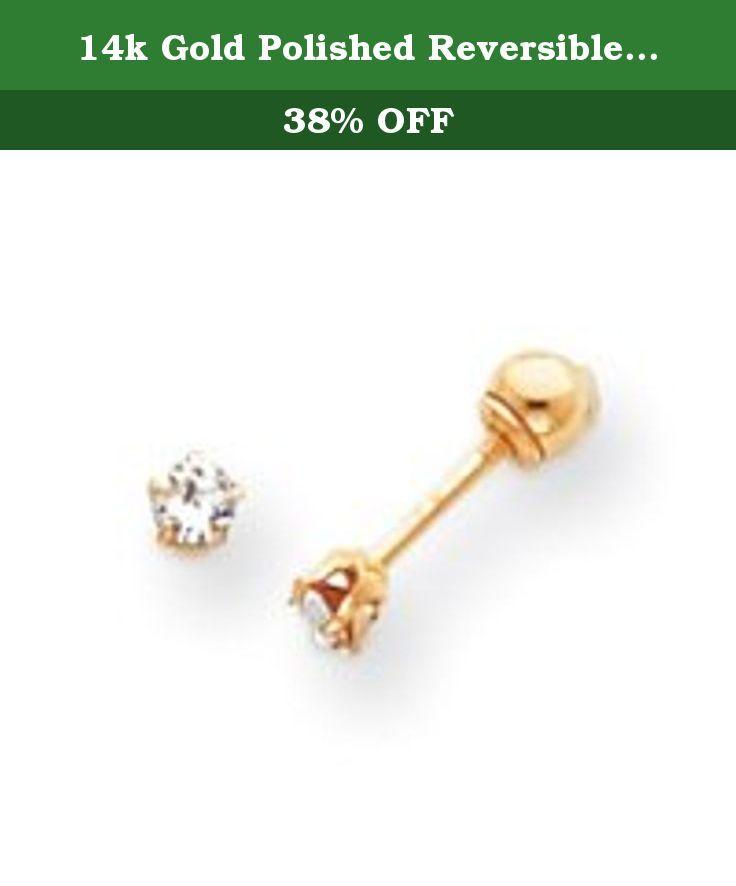 33d610e3f 14k Gold Polished Reversible Cubic Zirconia & 3mm Ball Earrings. 14k Gold  Polished Reversible Cubic