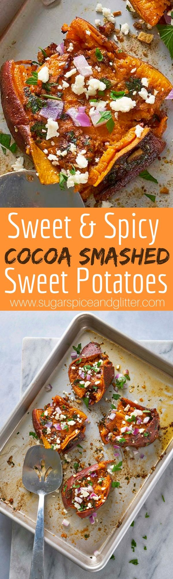 This Sweet and Spicy Smashed Sweet Potato Recipe has an unexpected flavor in the mix- chocolate! A savoury chocolate recipe inspired by the Chocolate Emporium at Universal Studios Florida