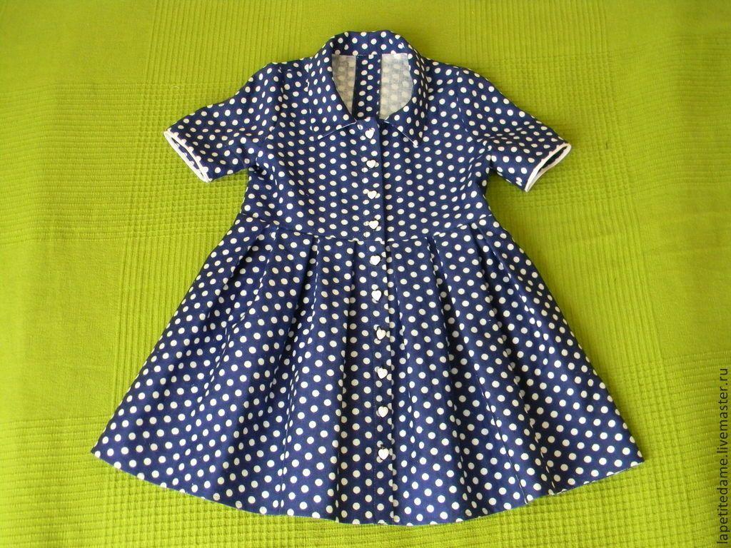 """Купить Платье """"Маленькая леди"""" - тёмно-синий, в горошек, платье для девочки, детское платье"""
