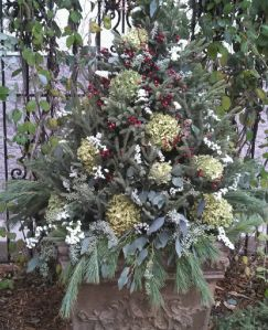 Transform your planter to a winter masterpiece!  A container with spruce tips, pine, dried hydrangea, seeded eucalyptus and white statice flower really make a head turning holiday statement!