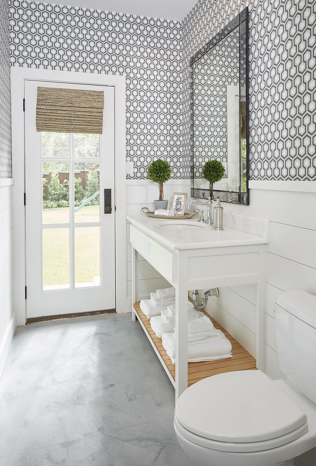 Parkford Project Guest Bathroom With Wallpaper And Shiplap By A Well Dressed Home LLC Attainable Livable Interiors