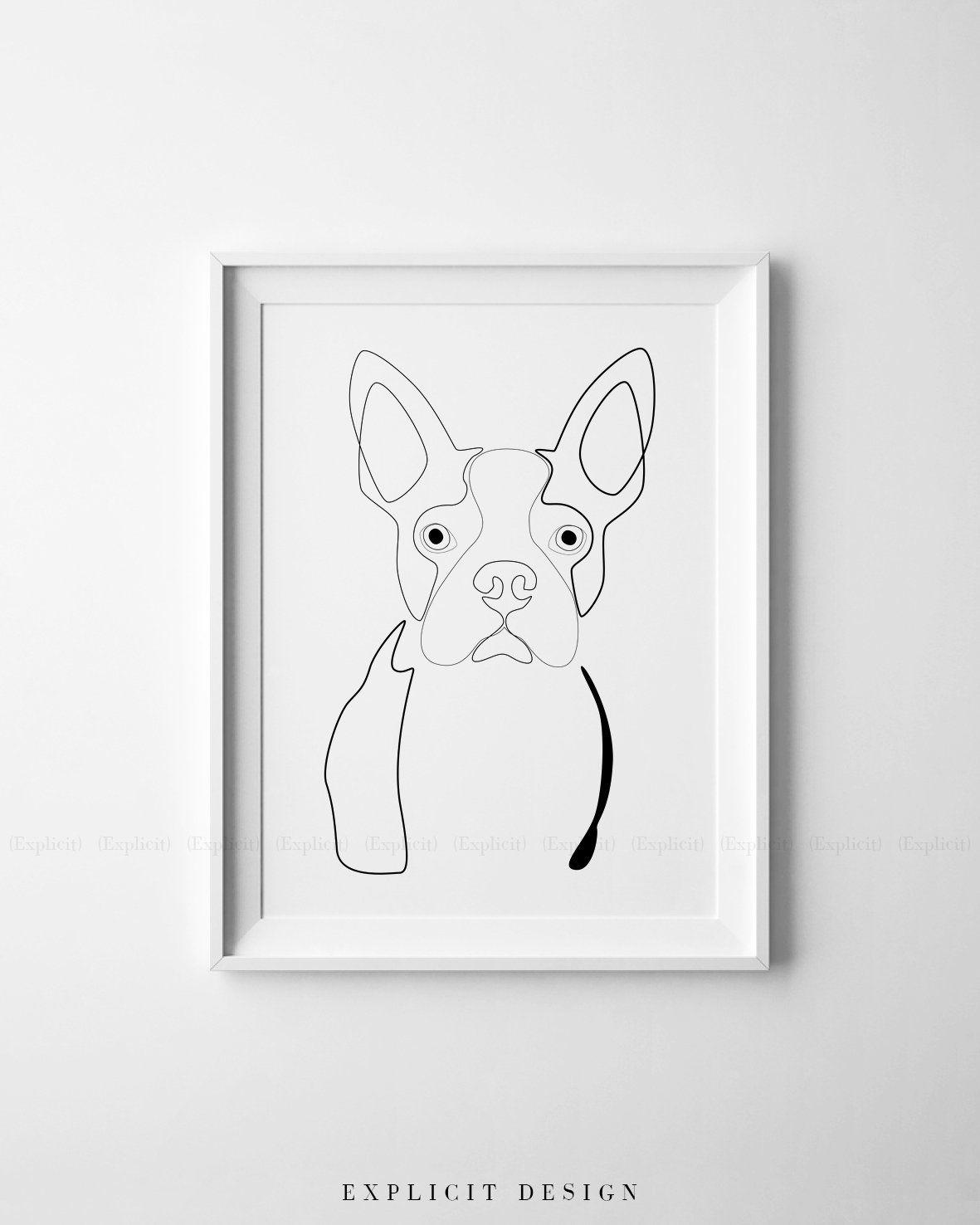 Boston Terrier Illustration Printable Abstract Dog Drawing In Etsy Dog Line Art Boston Terrier Illustration Dog Drawing