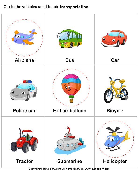Water transport TurtleDiary logo vervoer – Transportation Worksheets for Kindergarten