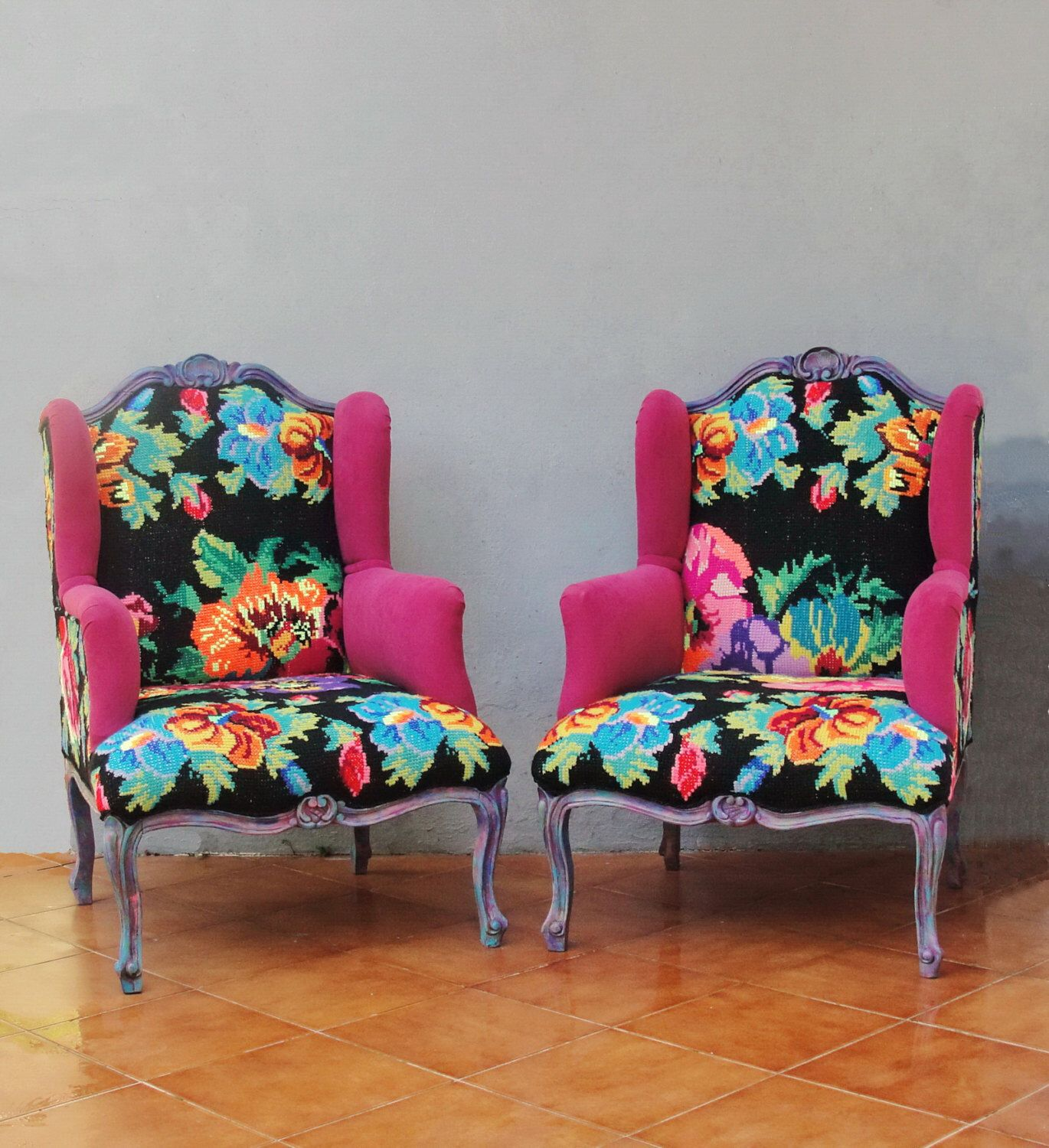 Embroidered armchair baroque flowers and woodwork bohemian