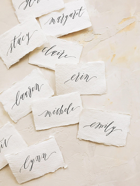 place card calligraphy on handmade cotton paper custom place card and escort card calligraphy for weddings special events - Custom Place Cards