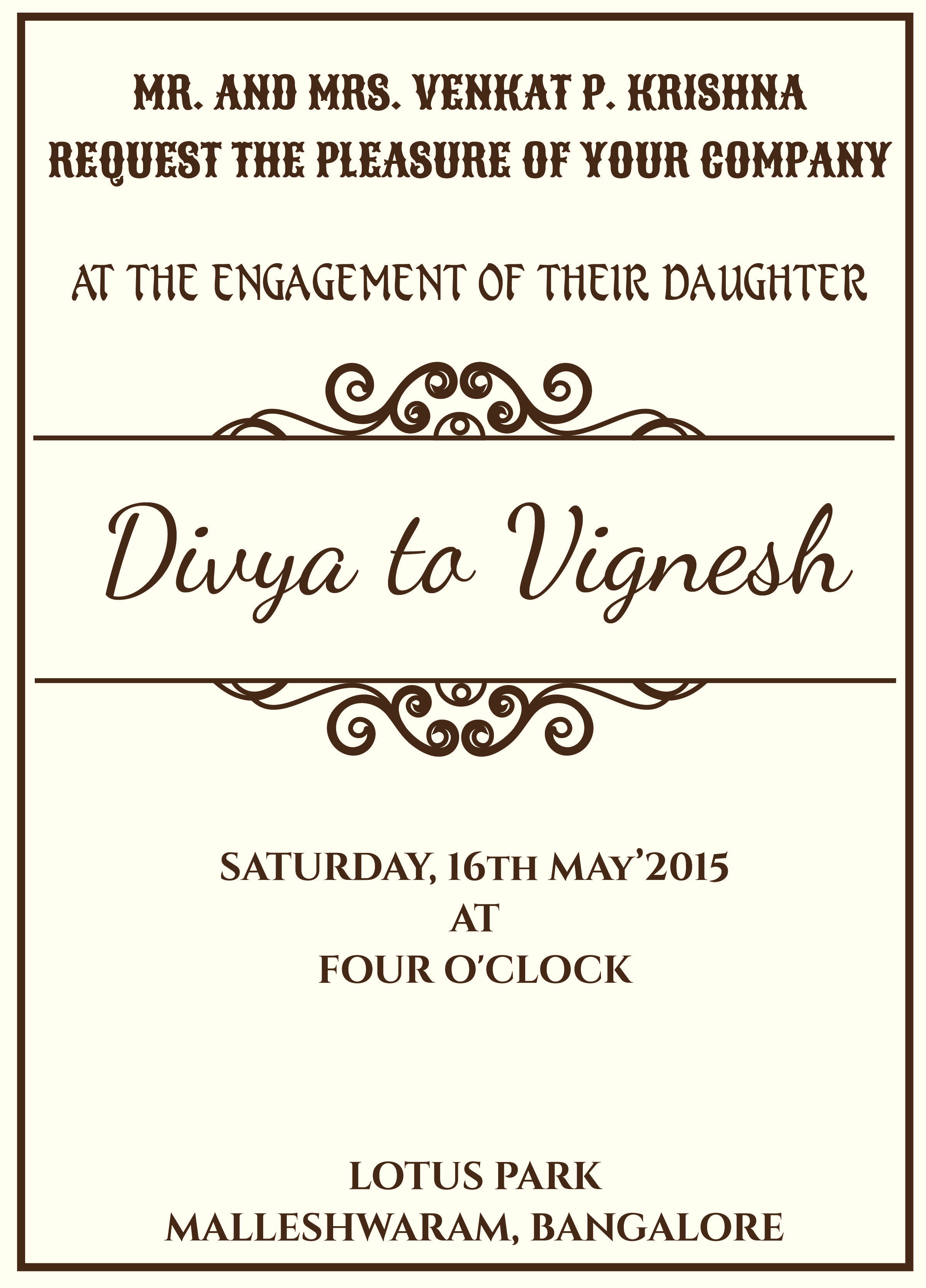 Indian Style Engagement invitation card with wordings Check it out