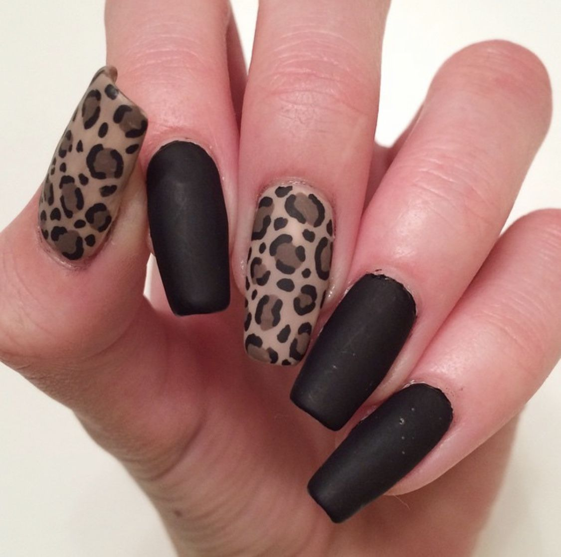 Black Matte Leopard Nails Acrylic Nails Stiletto Cheetah Print Nails Leopard Print Nails