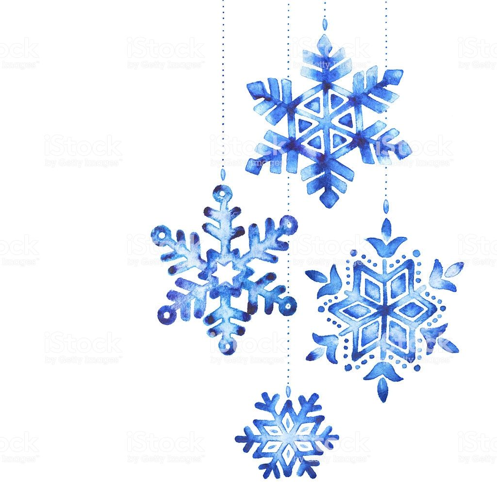 Watercolor painting of a snowflakes as christmas ...