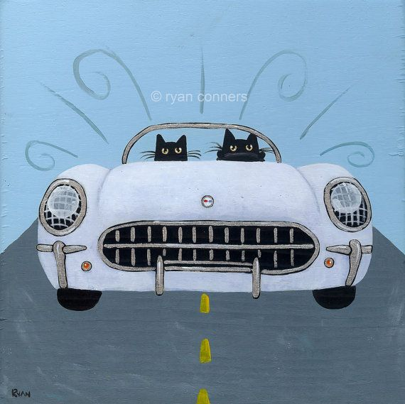 53 Corvette Road Trip Cats Folk Art Digital by KilkennycatArt