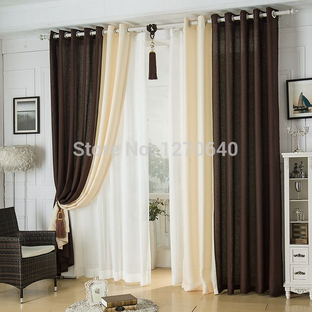 Modern Linen Splicing Curtainsdining Room Restaurant Hotel Blackout Curtains Design Fashion Window Roman