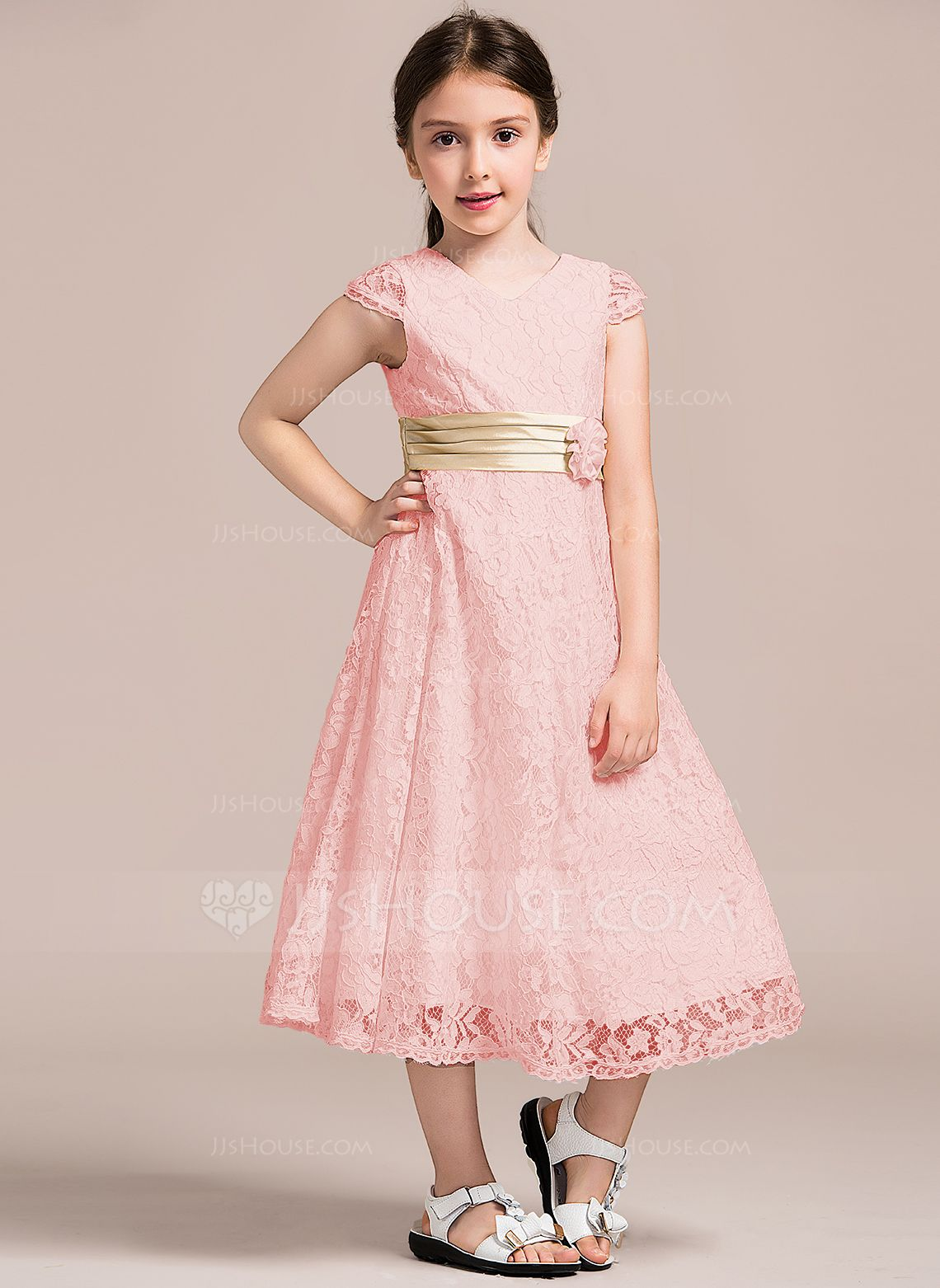 d080496a694d A-Line/Princess V-neck Tea-Length Lace Junior Bridesmaid Dress With Ruffle  Flower(s) (009087904) - Junior Bridesmaid Dresses - JJsHouse