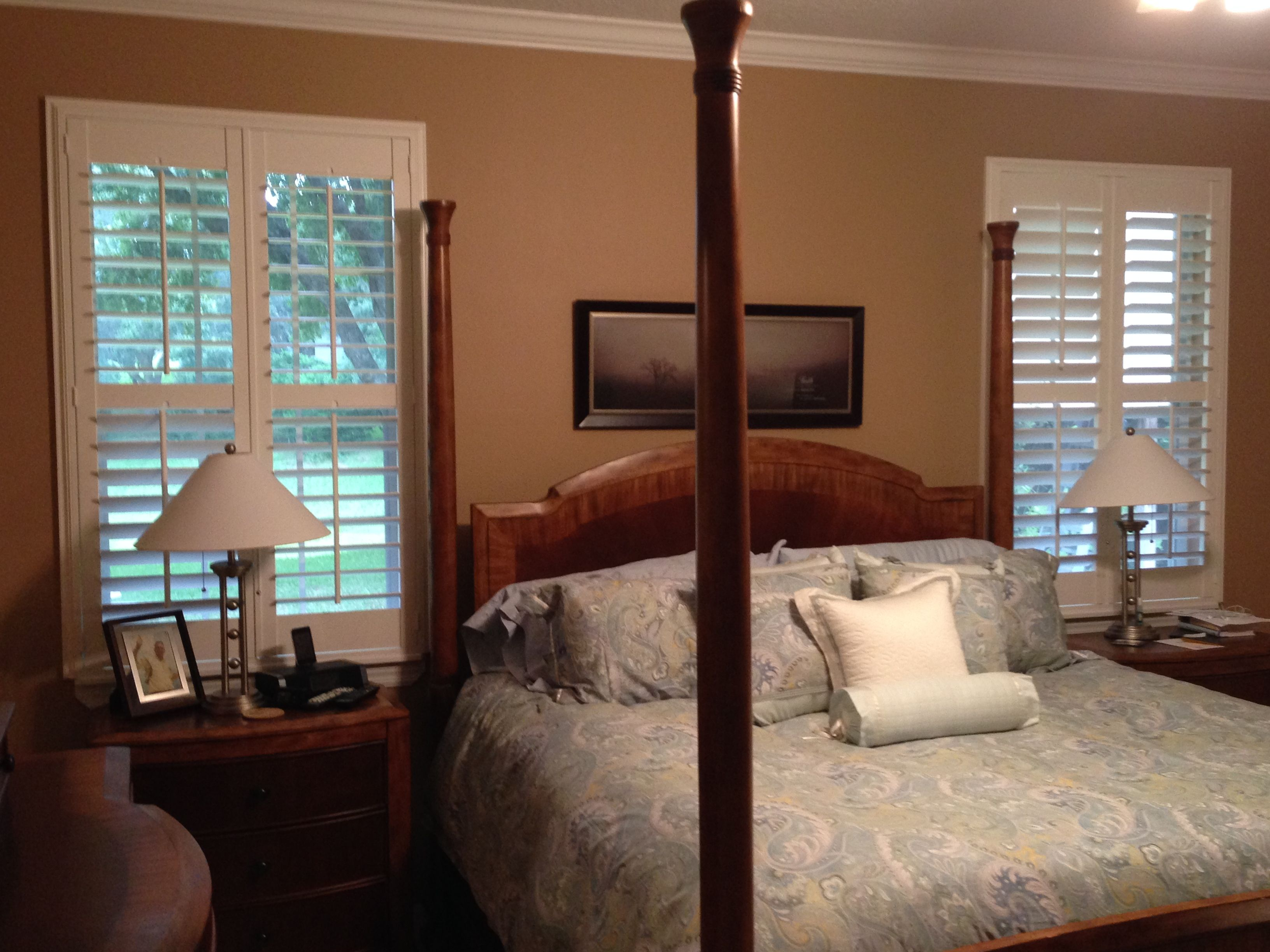 Gorgeous Plantation Shutters Dress Up This Master Bedroom. Available At  Budget Blinds Of Clermont
