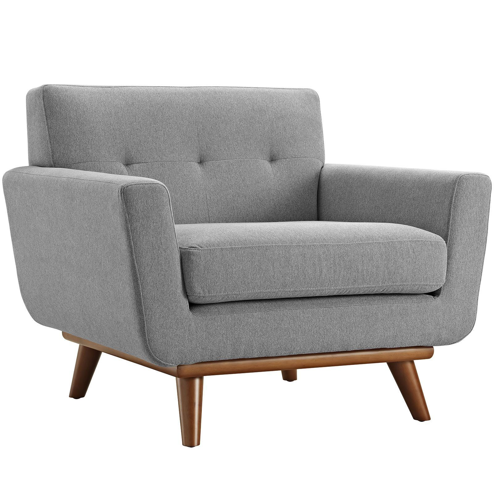 Fabric Upholstered Armchair With Rubberwood Legs Dekor Tasarim Cit