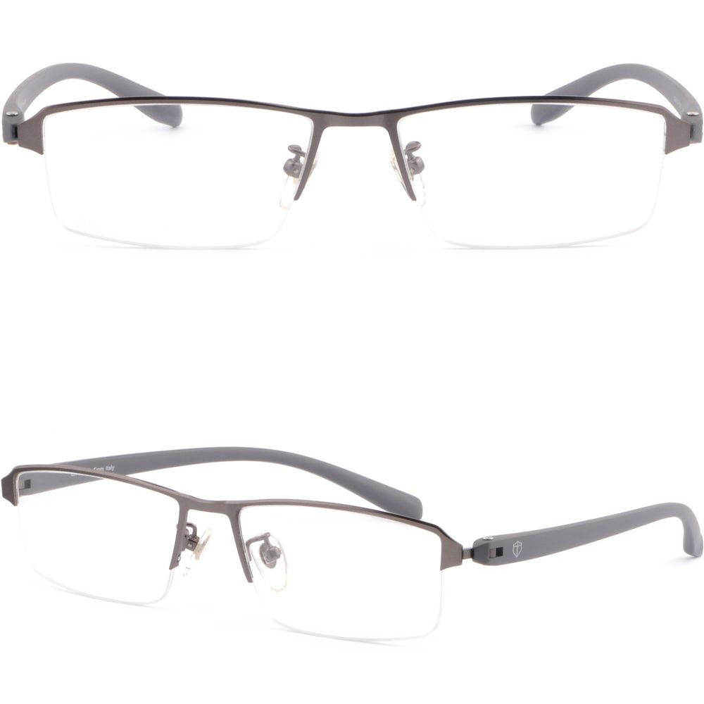 49ede907c4 Grey Half Rimless Light Men s Women s Light Titanium Frames Prescription  Glasses