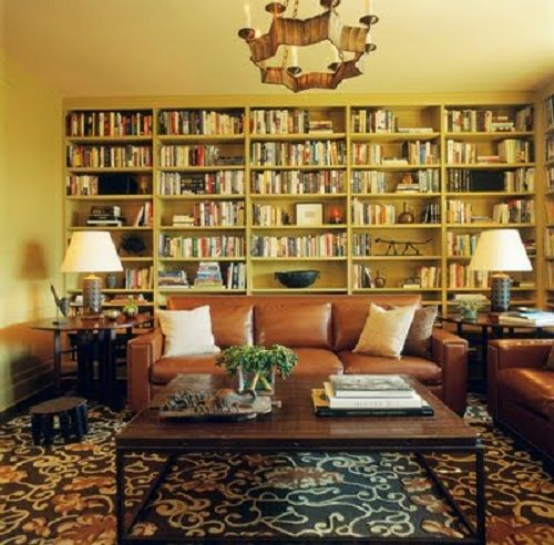 Original Bookcase Behind Sofa