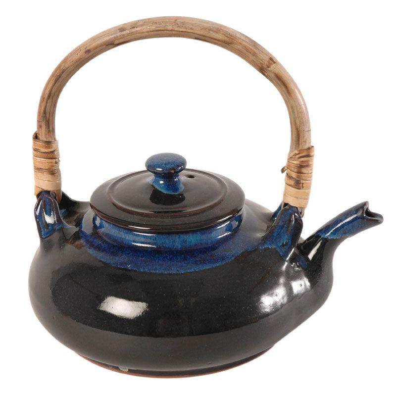 Ceramic blueglazed teapot from ten thousand villages