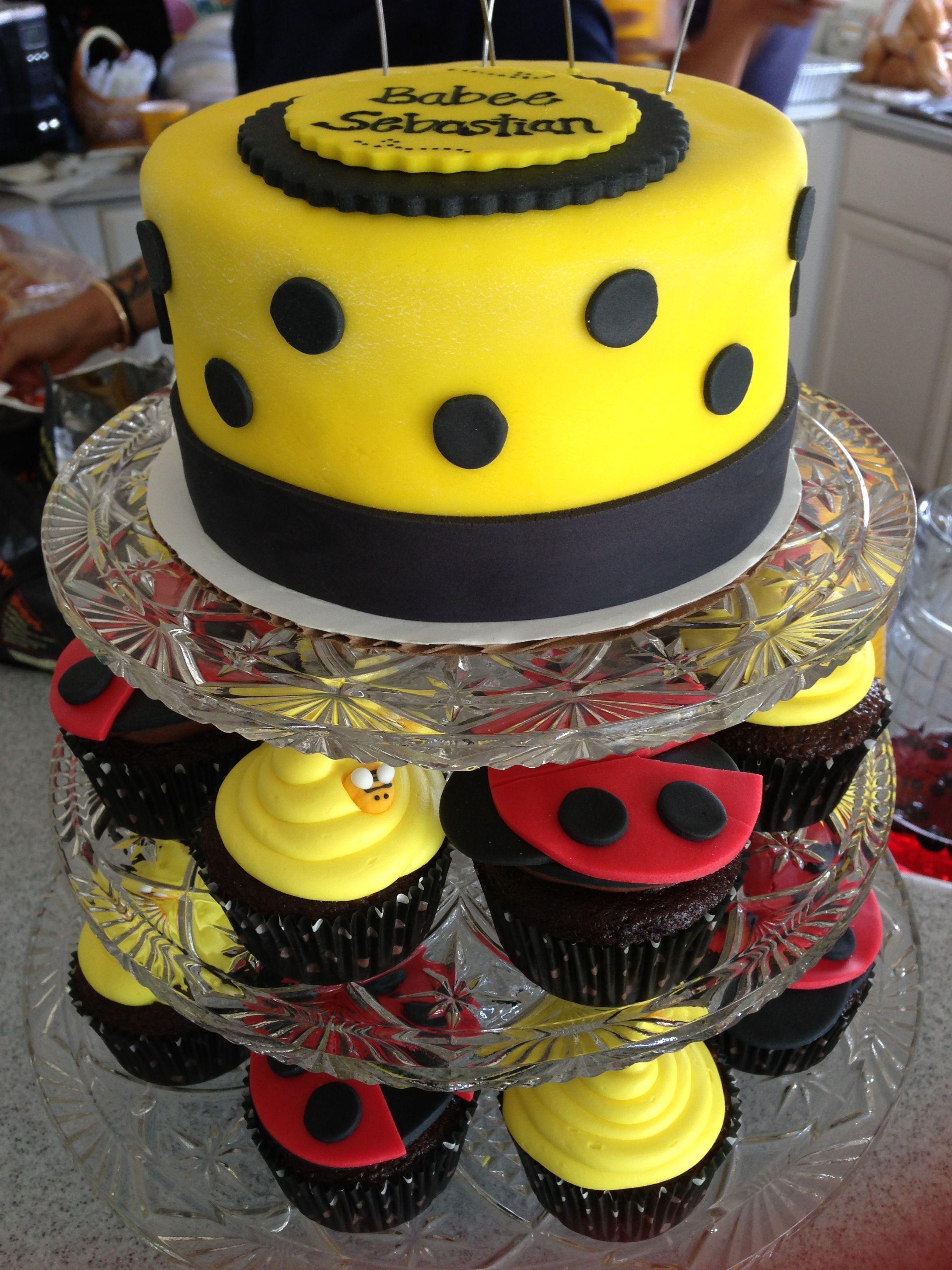 Babee shower cake with bumblebee and ladybug cupcakes