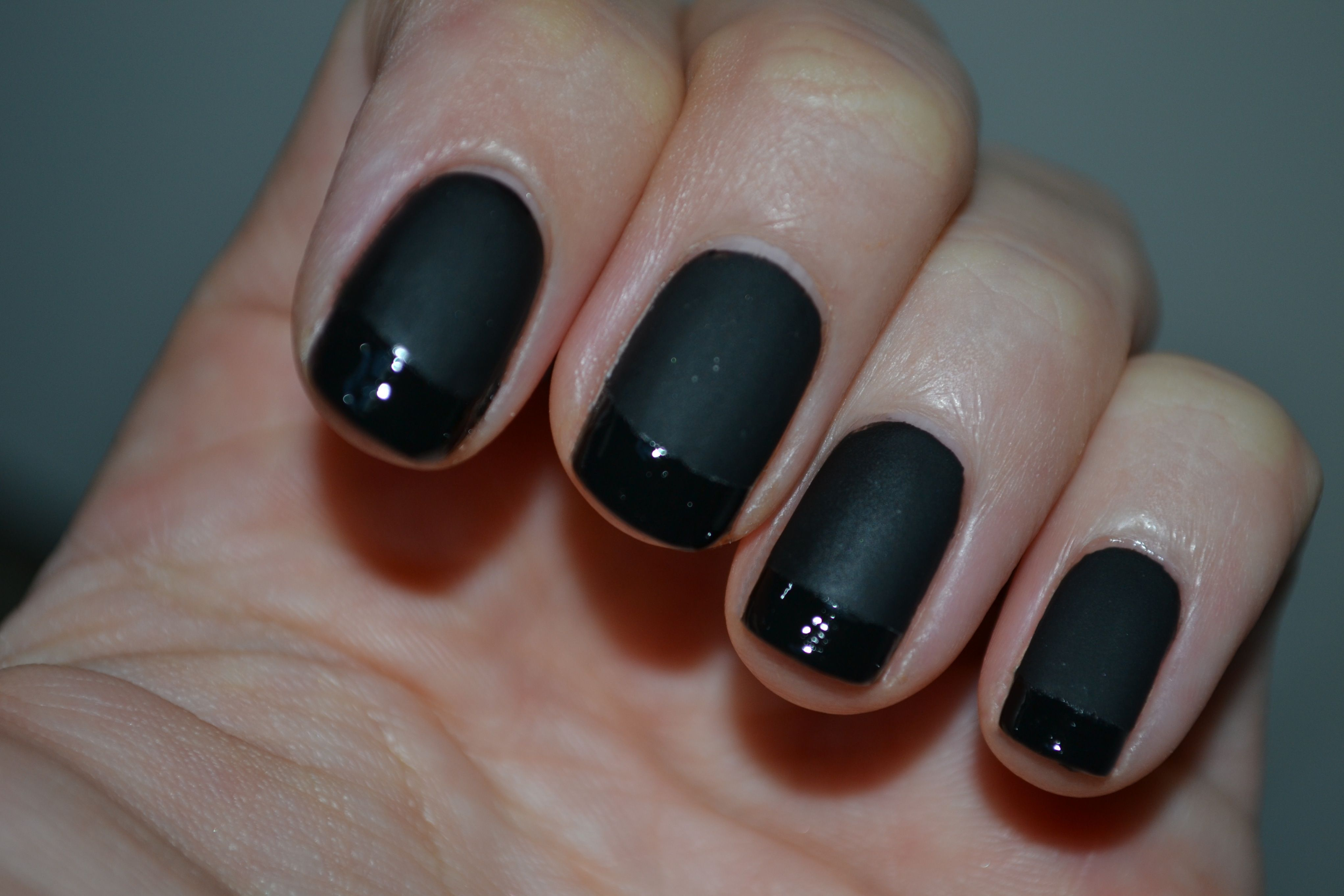black nail polish | First, paint your nails with Essie Licorice (or ...