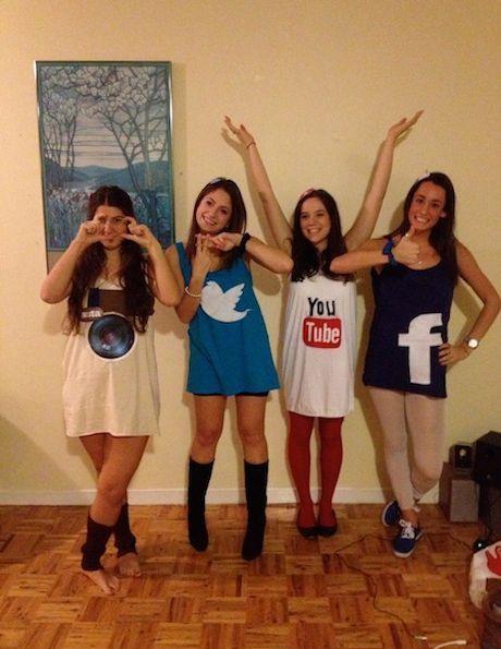 Ihr kommt von Social Media nicht mehr los? Dann schnappt euch 3 Freundinnen und verkleidet euch ganz einfach als die Icons der vier bekanntesten Netzwerke: Instagram, Twitter, YouTube und Facebook!
