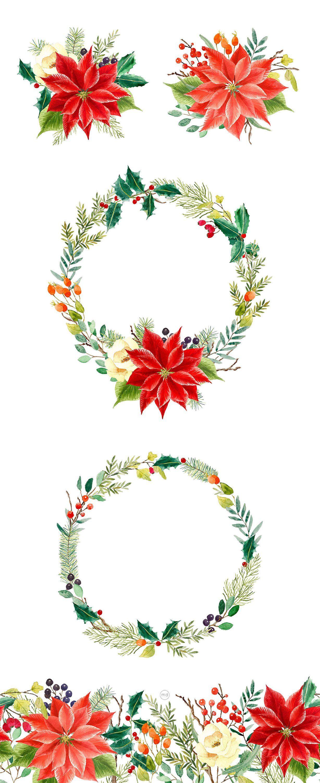 Bouquet De Noel Avec Du Houx cliparts top qualité de noël peints à l'aquarelle, couronne