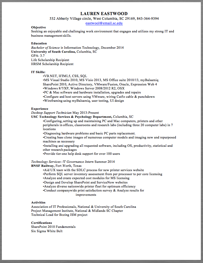 desktop support technician resume sample lauren eastwood 532 abberly village circle west columbia sc - Support Technician Resume