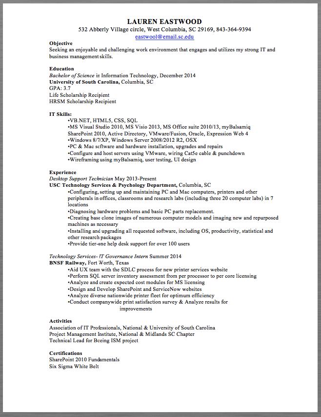 Desktop Support Technician Resume Sample Lauren Eastwood 532 Abberly Village Circle West Columbia Sc 29169 843 364 9394 Eastwool Email Sc Edu Objective Seeki
