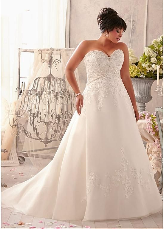 Fabulous Organza & Satin Sweetheart Neckline Natural Waistline A-line Plus Size Wedding Dress