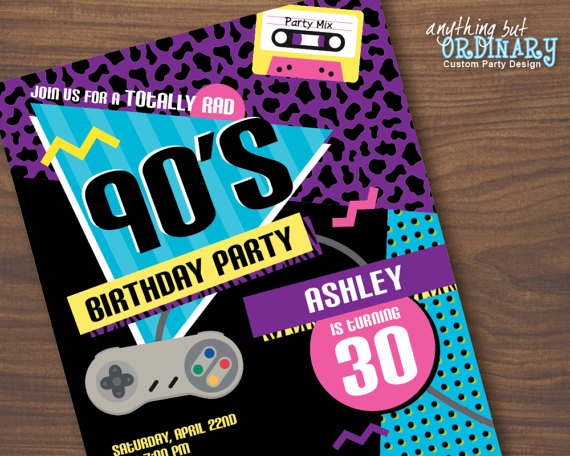 90s Birthday Party Invitation 1990s Flashback Party Invites