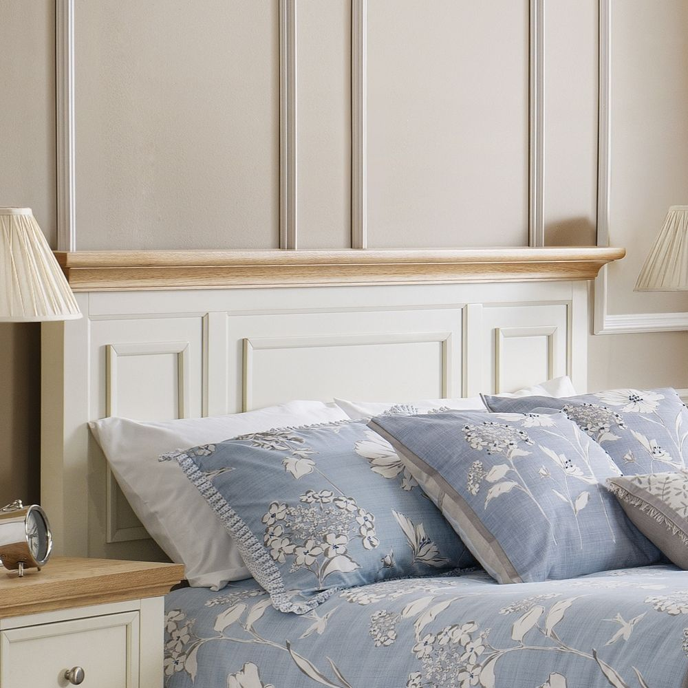 Wooden Bed Frame 4ft6 Double Portland Stone White And Oak Finish