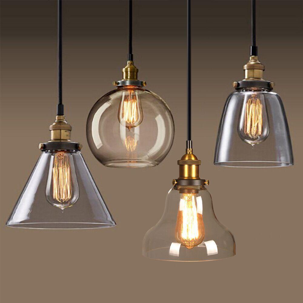 Vintage Industrial Loft Hanging Pendant Light Fixture Glass