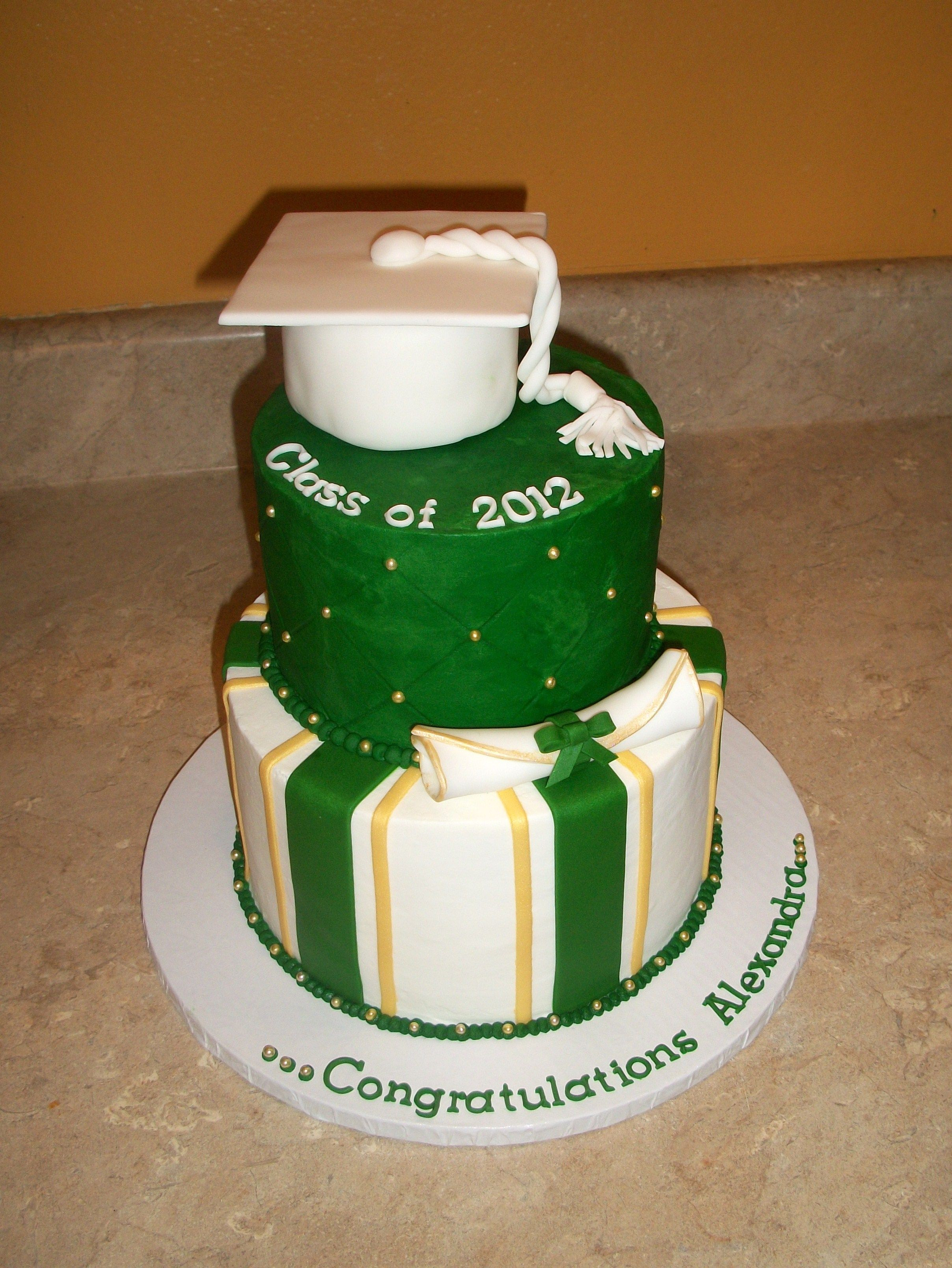 Green Gold And White Grad Cake Graduation Graduation Party Cake Gold Graduation Party Green Graduation Party