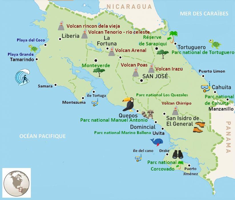 costa rica carte amerique Costa rica : que voir ? les incontournables en 2020 | Costa rica