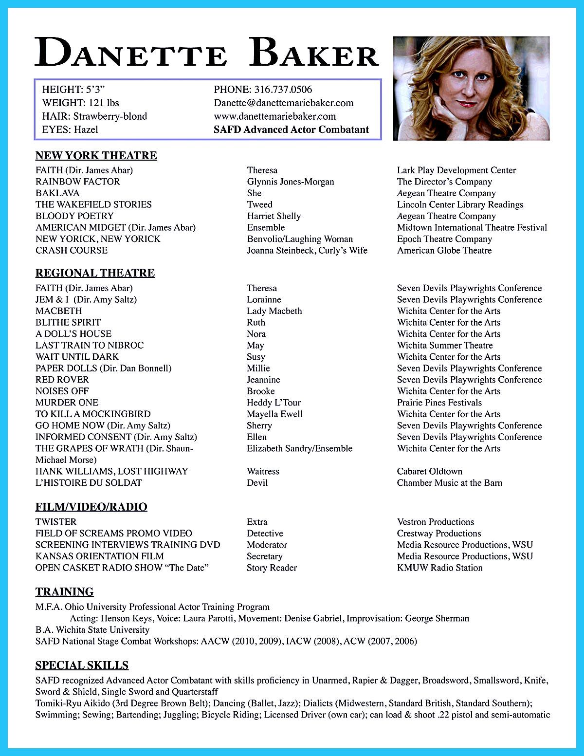 Sample Acting Resume Actor Resume Is Indeed Hard To Makebut It Doesn't Mean You