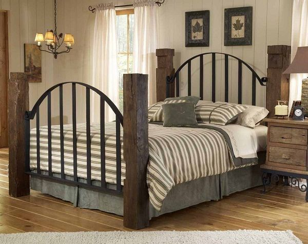 King Cast Iron Bed Google Search Rustic Wood Headboard